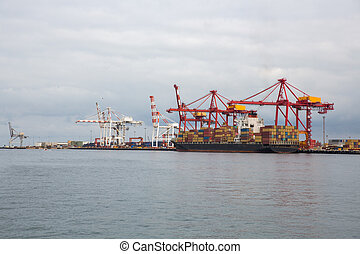 Cargo cranes load ships with containers