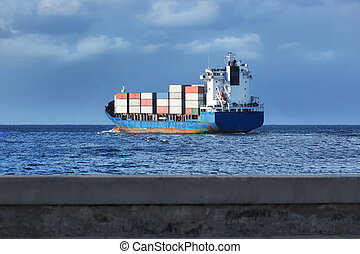 cargo, dans, les, mer