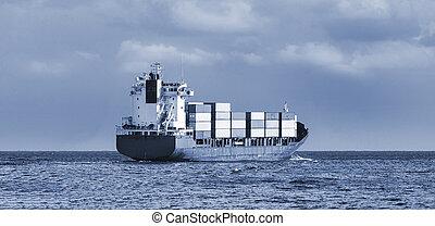 cargo, dans, les, océan