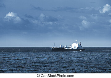 cargo, dans, océan