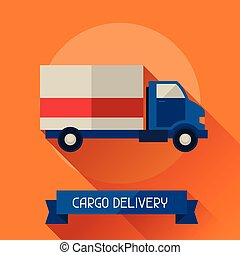 Cargo delivery icon on background in flat design style
