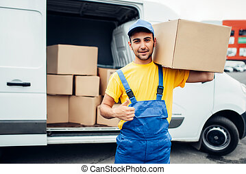 Cargo delivery service, male worker thumb up