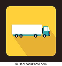 Cargo delivery truck icon, flat style