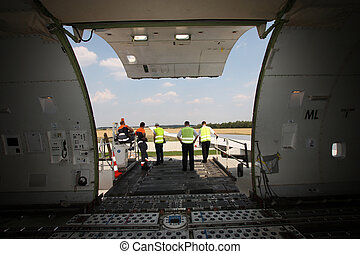 Cargo door of aircraft - Open cargo compartment door of an ...