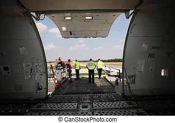 Cargo door of aircraft - Open cargo compartment door of an...