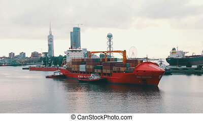 Cargo Ferry Arrives to the Sea Port
