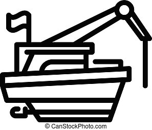 Cargo fishing boat icon, outline style