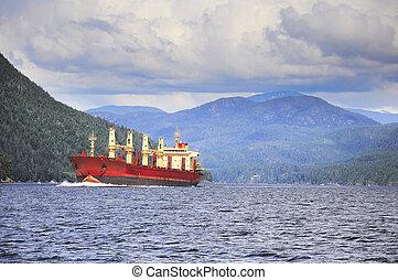 cargo, fjord., voile