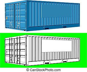two version of a cargo container with space for your logo