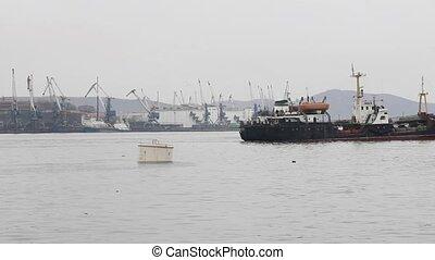 Cargo freight ship  at harbor terminal