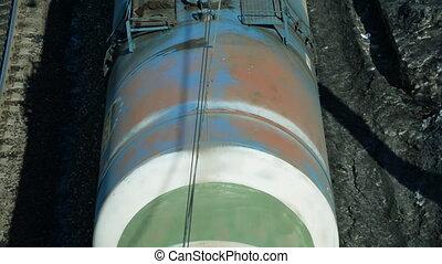 Cargo freight train. Oil, gasoline, other cargo