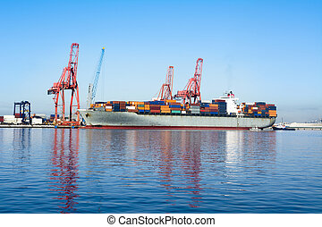 Cargo freighter - A cargo freighter with colorful cargo...