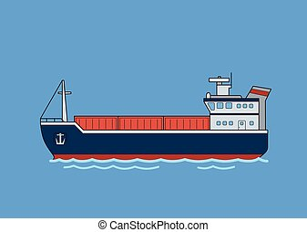 Cargo freighter boat. Flat vector illustration. Isolated on blue background.