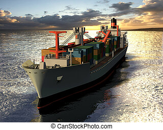 cargo freighter - Computer image, cargo liner 3D, sea and ...
