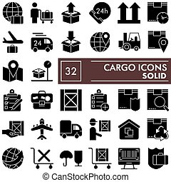 Cargo glyph icon set, delivery symbols collection, vector sketches, logo illustrations, shipping signs solid pictograms package isolated on white background, eps 10.