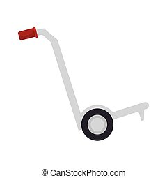 cargo hand cart with red handles and black wheels. vector...