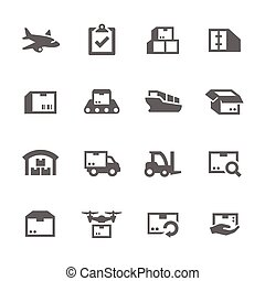 Cargo Icons - Simple Set of Cargo Related Vector Icons for...