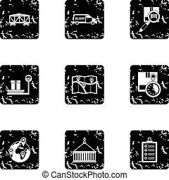 Cargo icons set, grunge style