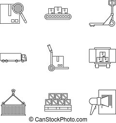 Cargo icons set, outline style