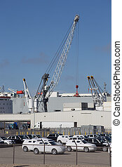 Cargo Importation from Freightliner Ship - A crane is taking...