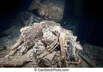 Cargo in hold 1 of the SS Thistlegorm.