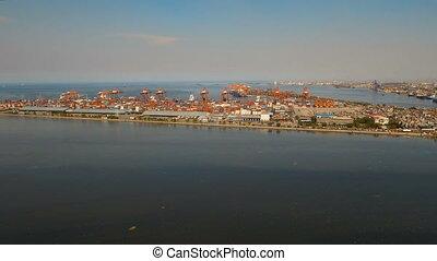Cargo industrial port aerial view. Manila, Philippines. -...