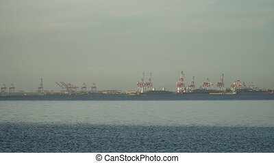 Cargo industrial port. Manila, Philippines. - Industrial...
