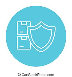 Cargo insurance line icon. - Stack of packages with a shield...