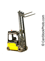 Cargo lifter - Yellow industrial fork lifter for cargo...