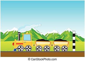 Cargo locomotive in mountain