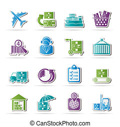 Cargo, logistic and shipping icons