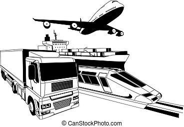 A conceptual cargo logistics transport illustration featuring a plane, truck, train and cargo ship