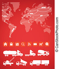 Cargo map with the sillhouettes of trucks