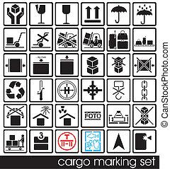 set of cargo marking icons