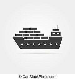 cargo, noir, ombre, icône