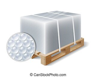 cargo on a wooden pallet - Image of cargo wrapped bubble...