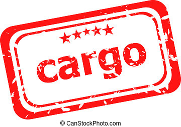 cargo on red rubber stamp over a white background