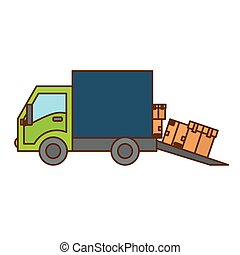 cargo or delivery truck icon image