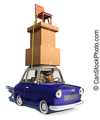 Cargo Overload - A cartoon family driving in a cartoon car ...