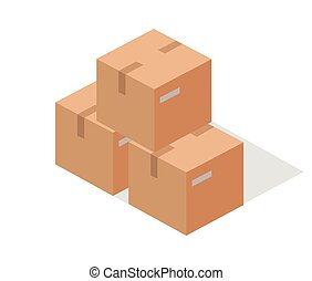 Cargo Paper Boxes Isolated on White. Isometric 3d
