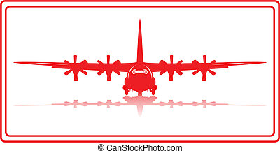 A cargo plane in red silhouette.