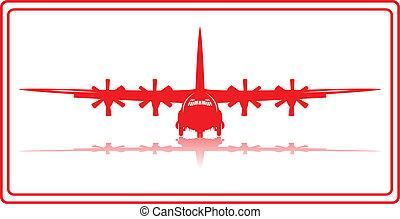 Cargo plane. - A cargo plane in red silhouette.