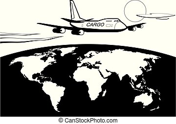 Cargo plane flying around the world