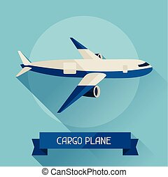 Cargo plane icon on background in flat design style