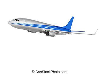 cargo plane on white background