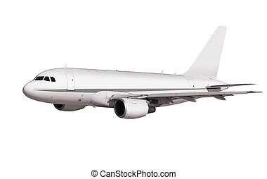 cargo plane on white background with path
