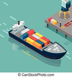 Cargo Port Illustration in Isometric Projection - Cargo port...