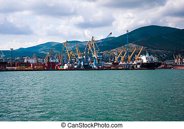 Cargo port in Novorossiysk, Russia