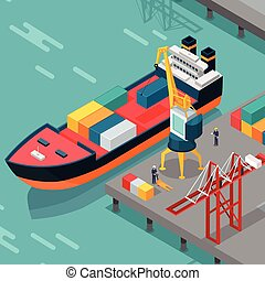 Cargo Port Vector Concept in Isometric Projection -...
