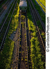 Cargo railway transportation industry. Railway yard from top view.